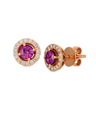 14K Strawberry Gold® Purple Garnet 1 cts. Earrings with Nude Diamonds 1/3 cts. | WIXY 80