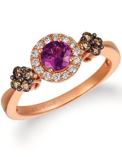 14K Strawberry Gold® Purple Garnet 1/2 cts. Ring with Chocolate Diamonds® 1/5 cts., Nude Diamonds 1/8 cts. | WIXY 81
