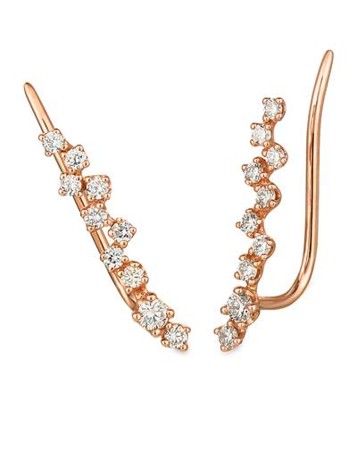 14K Strawberry Gold® Ear Climber with Nude Diamonds 3/8 cts. | WIXY 85