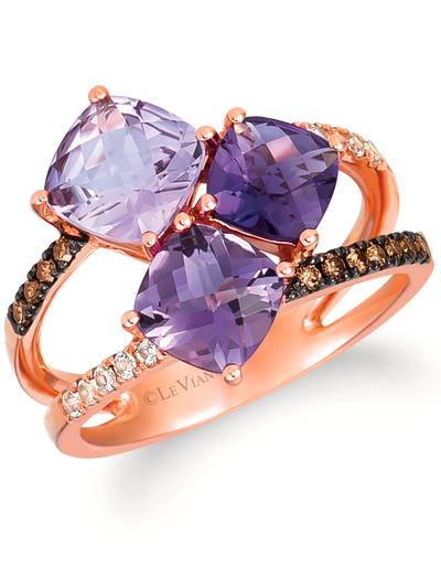 14K Strawberry Gold® Amethyst Ombre 2  5/8 cts., Vanilla Topaz™ 1/10 cts. Ring with Chocolate Diamonds® 1/10 cts. | WIXY 92
