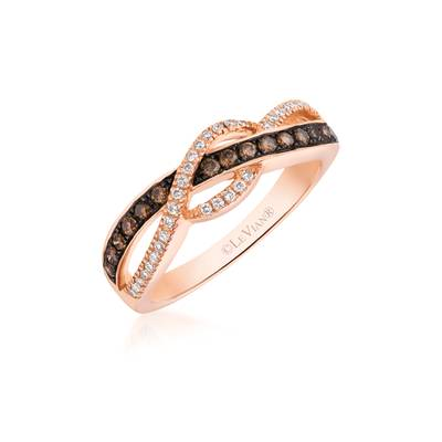 14K Strawberry Gold® Ring with Chocolate Diamonds® 1/4 cts., Vanilla Diamonds® 1/8 cts. | WIYO 124