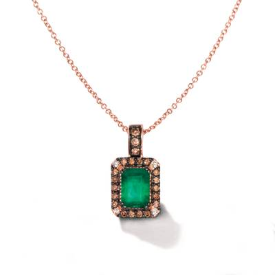 14K Strawberry Gold® New Emerald 1  1/2 cts. Earrings with Chocolate Diamonds® 1/4 cts., Vanilla Diamonds® 1/20 cts. | WIYO 152NE