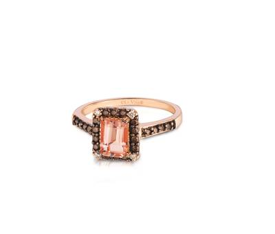 14K Strawberry Gold® Peach Morganite™ 3/4 cts. Ring with Chocolate Diamonds® 1/5 cts., Vanilla Diamonds®  cts. | WIYO 153