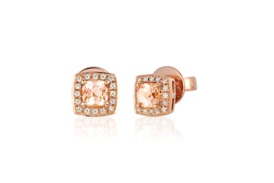 14K Strawberry Gold® Peach Morganite™ 1/2 cts. Earrings with Vanilla Diamonds® 1/10 cts. | WIYO 343