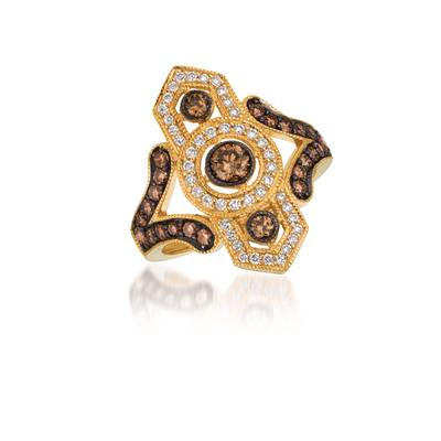 14K Honey Gold™ Ring with Chocolate Diamonds® 7/8 cts., Vanilla Diamonds® 1/4 cts. | WIYU 27A