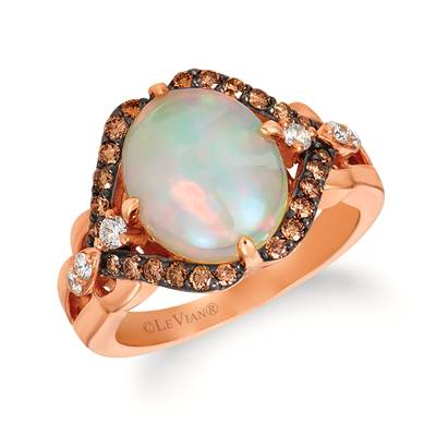 14K Strawberry Gold® Neopolitan Opal™ 2  1/5 cts. Ring with Vanilla Diamonds® 1/6 cts., Chocolate Diamonds® 3/8 cts. | WIYV 57