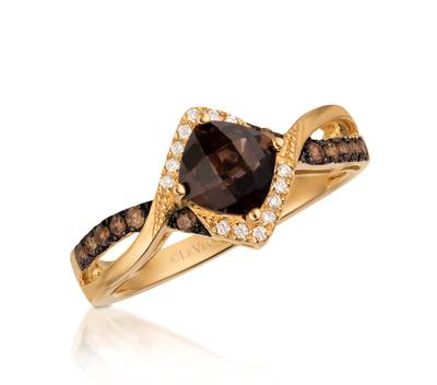 14K Honey Gold™ Chocolate Quartz® 3/4 cts. Ring with Chocolate Diamonds® 1/6 cts., Vanilla Diamonds® 1/20 cts. | WIZD 11
