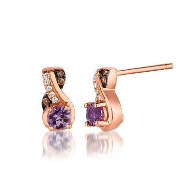 14K Strawberry Gold® Cotton Candy Amethyst® 1/3 cts. Earrings with Chocolate Diamonds® 1/20 cts., Vanilla Diamonds®  cts. | WIZD 13