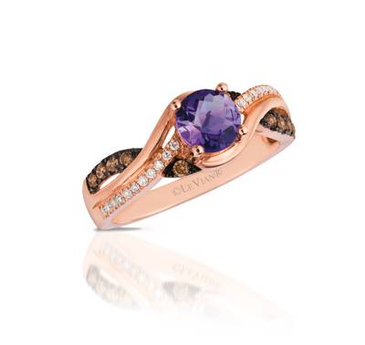 14K Strawberry Gold® Cotton Candy Amethyst® 5/8 cts. Ring with Chocolate Diamonds® 1/6 cts., Vanilla Diamonds® 1/15 cts. | WIZD 14