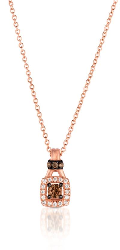 14K Strawberry Gold® Pendant with Chocolate Diamonds® 1/8 cts., Vanilla Diamonds® 1/20 cts. | WIZD 15