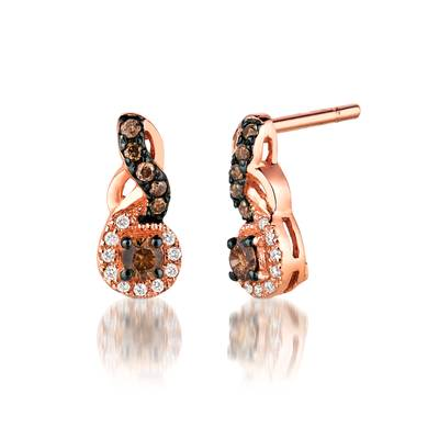 14K Strawberry Gold® Earrings with Chocolate Diamonds® 1/5 cts., Vanilla Diamonds® 1/20 cts. | WIZD 4