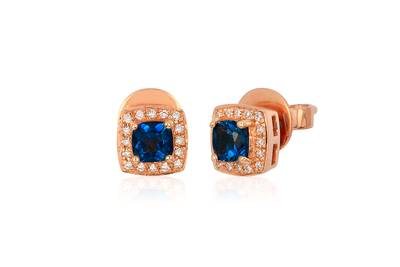14K Strawberry Gold® Deep Sea Blue Topaz™ 5/8 cts. Earrings with Vanilla Diamonds® 1/10 cts. | WIZU 7
