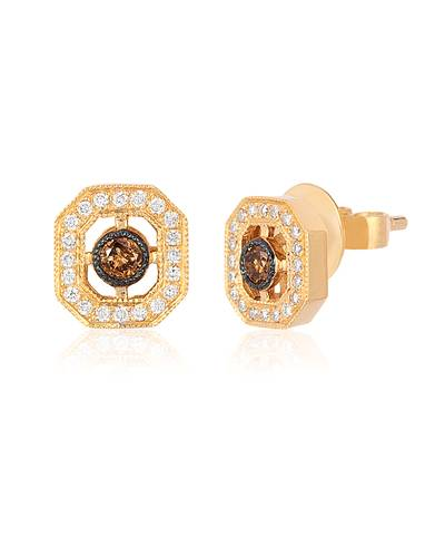 14K Honey Gold™ Earrings with Chocolate Diamonds® 1/10 cts., Vanilla Diamonds® 1/6 cts. | WIZX 37