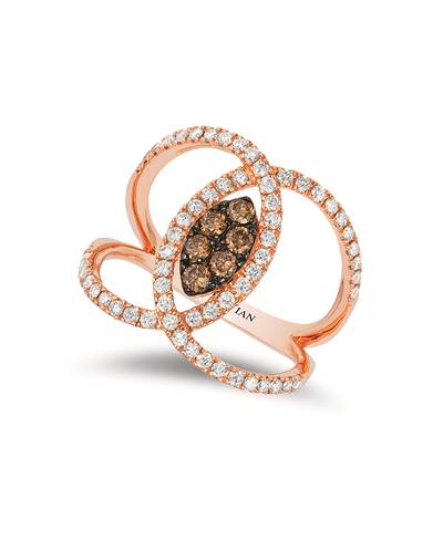 14K Strawberry Gold® Ring with Chocolate Diamonds® 1/4 cts., Vanilla Diamonds® 5/8 cts. | WIZX 39
