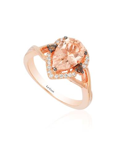 14K Strawberry Gold® Peach Morganite™ 1  1/3 cts. Ring with Chocolate Diamonds® 1/20 cts., Vanilla Diamonds® 1/8 cts. | WIZX 44