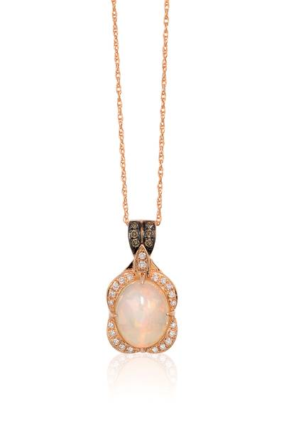 14K Strawberry Gold® Neopolitan Opal™ 1  1/5 cts. Pendant with Chocolate Diamonds® 1/20 cts., Vanilla Diamonds® 1/8 cts. | WIZX 8A