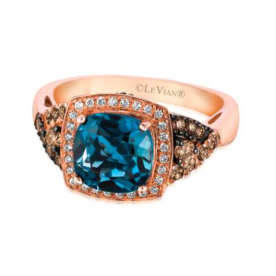 14K Strawberry Gold® Deep Sea Blue Topaz™ 2  1/3 cts. Ring with Chocolate Diamonds® 1/3 cts., Vanilla Diamonds® 1/10 cts. | WIZY 71