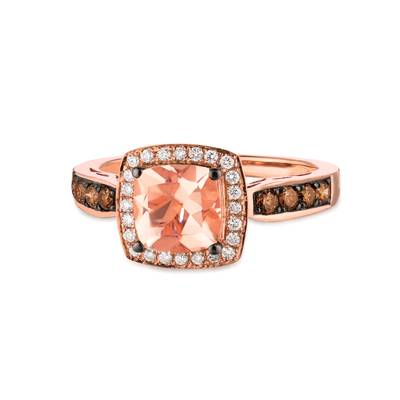 14K Strawberry Gold® Peach Morganite™ 1  1/4 cts. Ring with Chocolate Diamonds® 1/4 cts., Vanilla Diamonds® 1/8 cts. | WIZZ 13