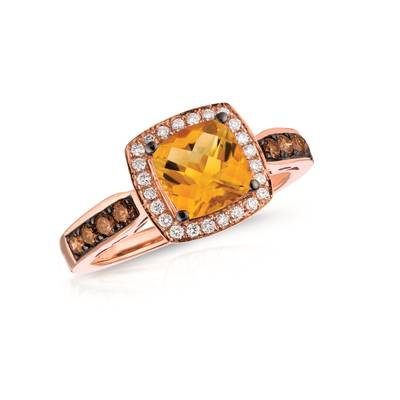 14K Strawberry Gold® Cinnamon Citrine® 1  1/4 cts. Ring with Chocolate Diamonds® 1/4 cts., Vanilla Diamonds® 1/8 cts. | WIZZ 13CT