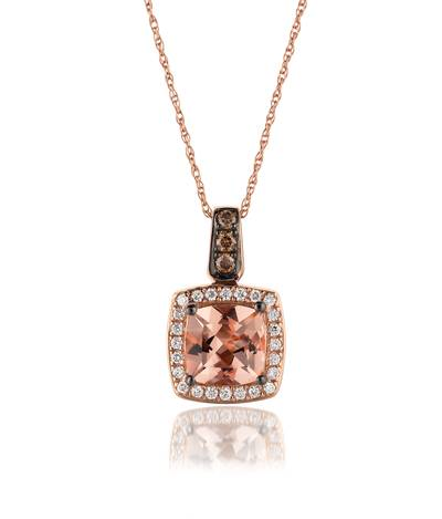 14K Strawberry Gold® Peach Morganite™ 1 cts. Pendant with Chocolate Diamonds® 1/15 cts., Vanilla Diamonds® 1/8 cts. | WIZZ 15