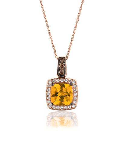 14K Strawberry Gold® Cinnamon Citrine® 1  1/4 cts. Pendant with Chocolate Diamonds® 1/15 cts., Vanilla Diamonds® 1/8 cts. | WIZZ 15CT