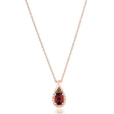 14K Strawberry Gold® Raspberry Rhodolite® 3/4 cts. Pendant with Chocolate Diamonds® 1/15 cts., Vanilla Diamonds® 1/15 cts. | WJAI 140