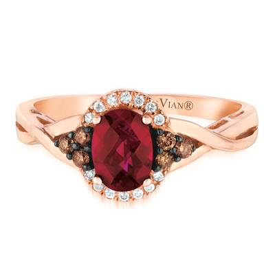 14K Strawberry Gold® Raspberry Rhodolite® 3/4 cts. Ring with Chocolate Diamonds® 1/8 cts., Vanilla Diamonds® 1/20 cts. | WJAI 142