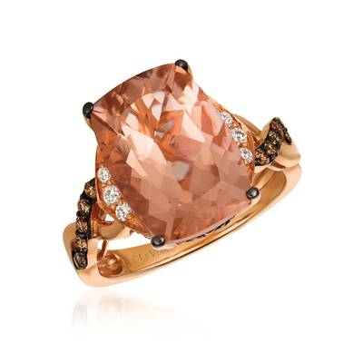 14K Strawberry Gold® Peach Morganite™ 5  1/8 cts. Ring with Chocolate Diamonds® 1/3 cts., Vanilla Diamonds® 1/10 cts. | WJAJ 8