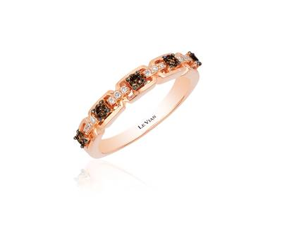 14K Strawberry Gold® Ring with Chocolate Diamonds® 1/4 cts., Vanilla Diamonds® 1/20 cts. | WJAK 147