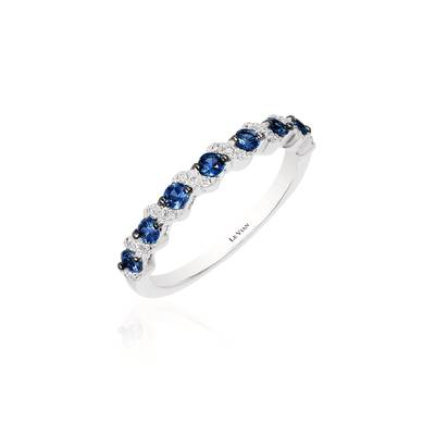 14K Vanilla Gold® Blueberry Sapphire™ 1/3 cts. Ring with Vanilla Diamonds® 1/20 cts. | WJAK 9-070