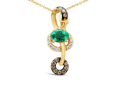 14K Honey Gold™ Costa Smeralda Emeralds™ 5/8 cts. Pendant with Chocolate Diamonds® 1/6 cts., Vanilla Diamonds® 1/10 cts. | WJAW 63