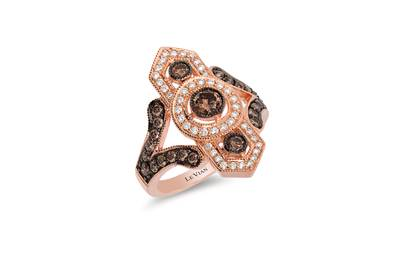 14K Strawberry Gold® Ring with Chocolate Diamonds® 7/8 cts., Vanilla Diamonds® 1/4 cts. | WJAZ 114