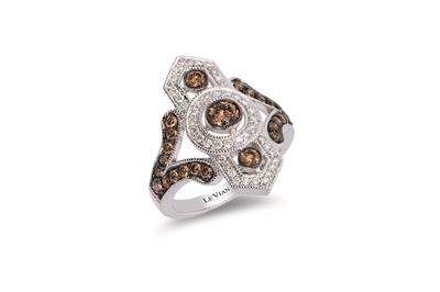 14K Vanilla Gold® Ring with Chocolate Diamonds® 7/8 cts., Vanilla Diamonds® 1/4 cts. | WJAZ 12