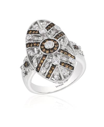 14K Vanilla Gold® Ring with Vanilla Diamonds® 3/8 cts., Chocolate Diamonds® 1/3 cts. | WJBA 22
