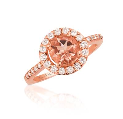 14K Strawberry Gold® Peach Morganite™ 7/8 cts. Ring with Vanilla Diamonds® 1/3 cts. | WJBD 1