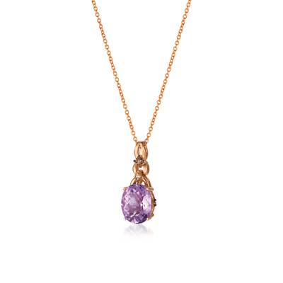 14K Strawberry Gold® Grape Amethyst™ 2 cts. Pendant with Chocolate Diamonds® 1/20 cts., Vanilla Diamonds®  cts. | WJBJ 106