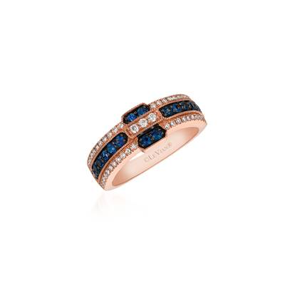 14K Strawberry Gold® Blueberry Sapphire™ 1/2 cts. Ring with Vanilla Diamonds® 1/4 cts. | WJBK 47