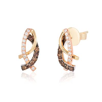 14K Tri Color Gold Earrings with Chocolate Diamonds® 1/4 cts., Vanilla Diamonds® 1/8 cts. | WJBM 5