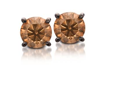 14K Strawberry Gold® Earrings with Chocolate Diamonds® 1/2 cts. | WJBO 1
