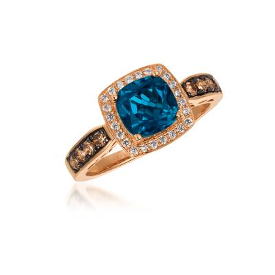 14K Strawberry Gold® Deep Sea Blue Topaz™ 1  5/8 cts. Ring with Chocolate Diamonds® 1/4 cts., Vanilla Diamonds® 1/8 cts. | WJBO 39