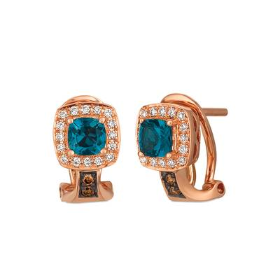 14K Strawberry Gold® Deep Sea Blue Topaz™ 5/8 cts. Earrings with Chocolate Diamonds® 1/20 cts., Vanilla Diamonds® 1/8 cts. | WJBO 40