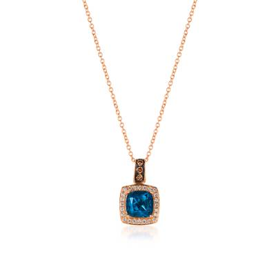 14K Strawberry Gold® Deep Sea Blue Topaz™ 1  5/8 cts. Pendant with Chocolate Diamonds® 1/15 cts., Vanilla Diamonds® 1/8 cts. | WJBO 41