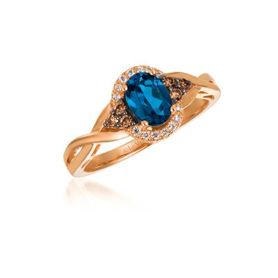 14K Strawberry Gold® Deep Sea Blue Topaz™ 3/4 cts. Ring with Chocolate Diamonds® 1/8 cts., Vanilla Diamonds® 1/20 cts. | WJBO 42