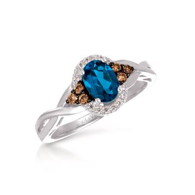 14K Vanilla Gold® Deep Sea Blue Topaz™ 3/4 cts. Ring with Chocolate Diamonds® 1/8 cts., Vanilla Diamonds® 1/20 cts. | WJBO 42WG