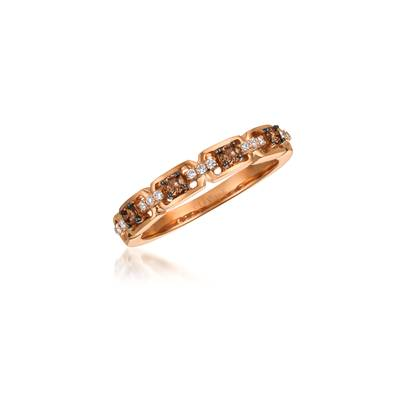 14K Strawberry Gold® Ring with Chocolate Diamonds® 1/5 cts., Vanilla Diamonds® 1/15 cts. | WJBO 45