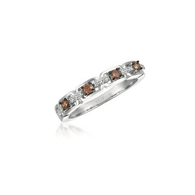 14K Vanilla Gold® Ring with Chocolate Diamonds® 1/5 cts., Vanilla Diamonds® 1/15 cts. | WJBO 46