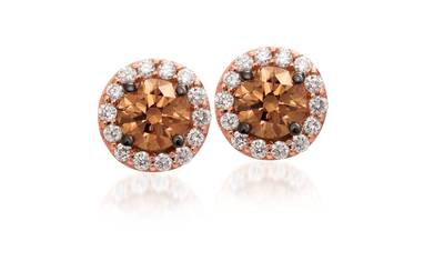 14K Strawberry Gold® Earrings with Chocolate Diamonds® 1/2 cts., Vanilla Diamonds® 1/6 cts. | WJBO 5