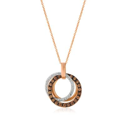 14K Strawberry Gold® Pendant with Chocolate Diamonds® 1/2 cts., Vanilla Diamonds® 1/6 cts. | WJBO 50