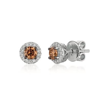14K Vanilla Gold® Earrings with Chocolate Diamonds® 1/2 cts., Vanilla Diamonds® 1/6 cts. | WJBO 5WG