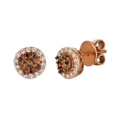14K Strawberry Gold® Earrings with Chocolate Diamonds® 7/8 cts., Vanilla Diamonds® 1/4 cts. | WJBO 6